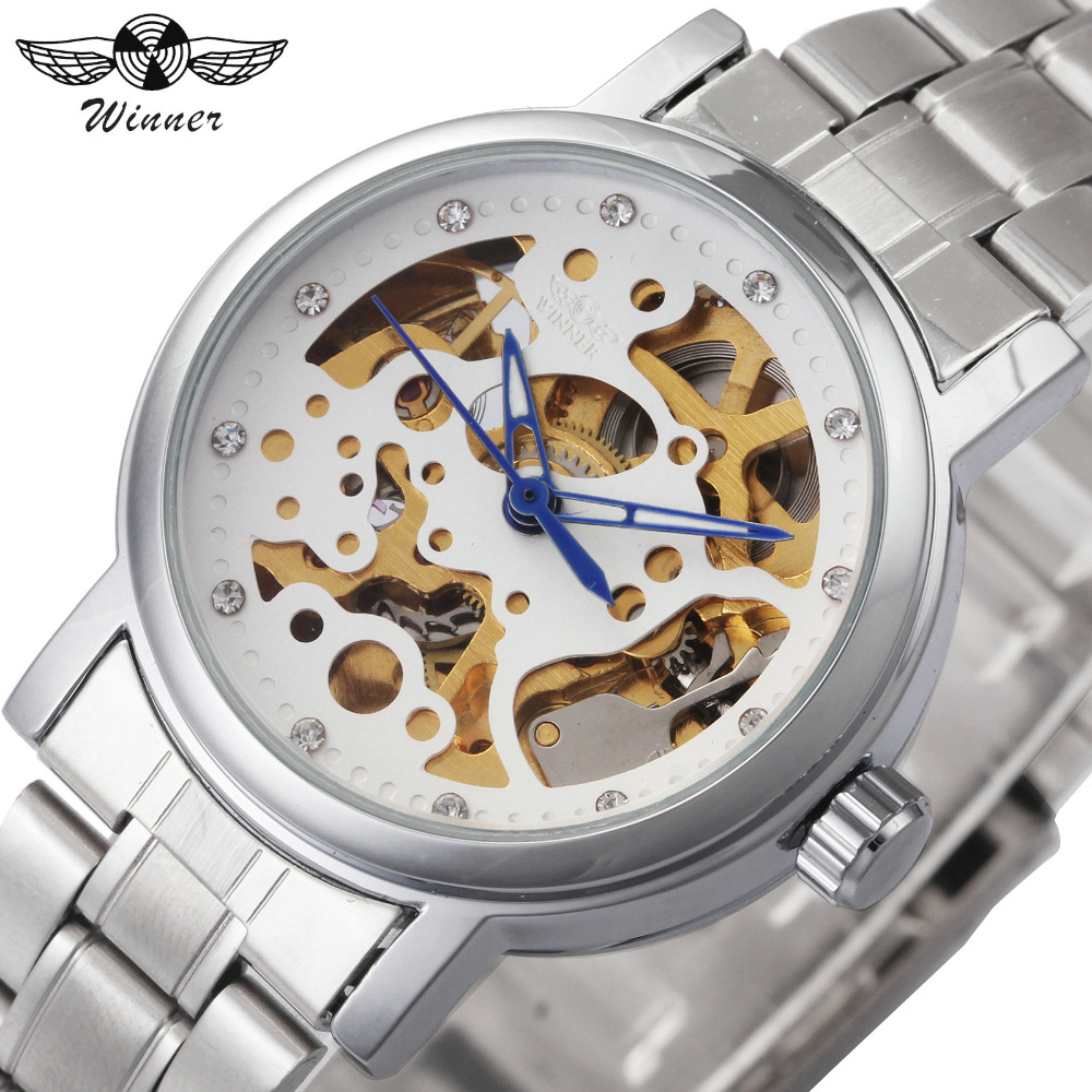 2018 Women Automatic Mechanical Watches Top Luxury Brand WINNER Ladies Crystal Gold Wrist Watches Skeleton Gift for Female +BOX