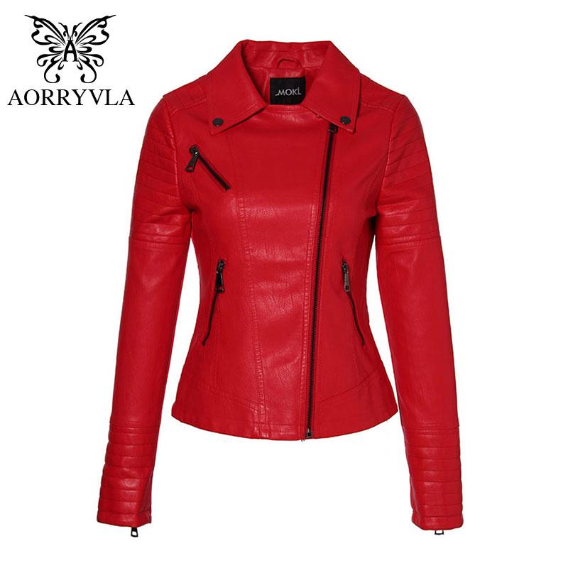 AORRYVLA 2019 New Spring Leather Jacket Women PU Jacket Full Sleeve Short Length Zipper Biker Ladies