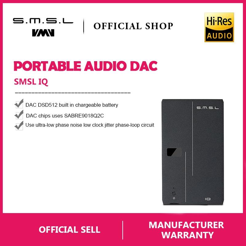 SMSL IQ HI-RES Portable casque Amplificateur USB DAC DSD512 PCM 768 khz à la charge avec construit dans la batterie 2.5mm et 3.5mm sortie