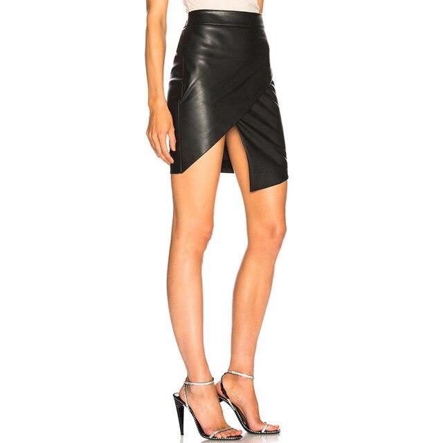 2019 summer new leather bag hip leather skirt women Slim one step skirt cross-country fashion irregular skirt 5
