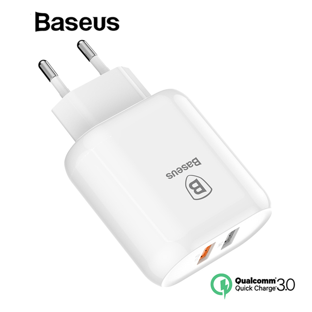 Baseus QC 3.0 Dual USB Charger Adapter EU Plug Travel Wall Quick Charge Charger For iPhone Samsung Xiaomi Mobile Phone Charger