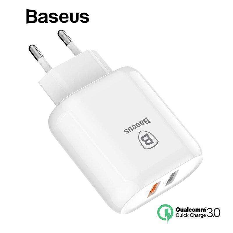 Baseus QC 3,0 USB Dual del cargador del adaptador de enchufe de la UE de pared de carga rápida cargador para iPhone Samsung Xiaomi teléfono móvil cargador