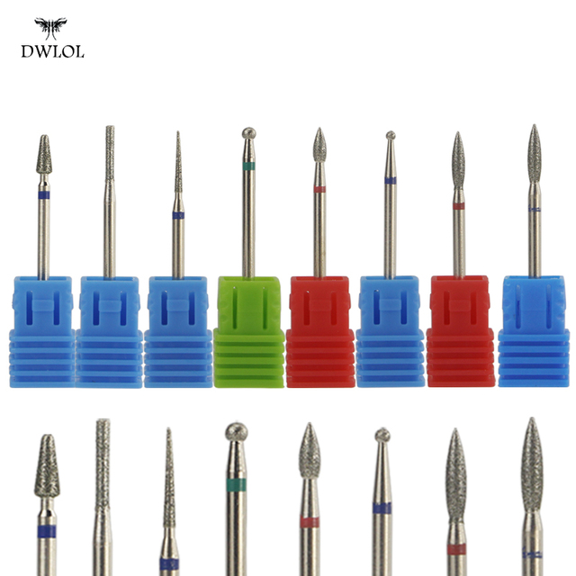 8 Type Diamond Nail  Drill Milling Nail Cutter Electric Nail Drill Bit For Manicure Pedicure Drill Bits Accessories Nail Drill