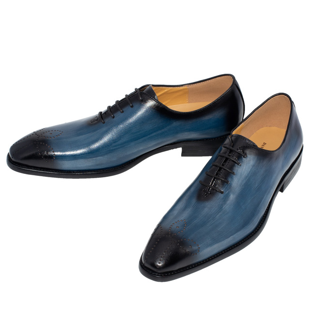 Handmade Men Genuine Leather Dress Shoes High Quality Italian Design Brown Blue Color Hand-polished Pointed Toe Wedding Shoes