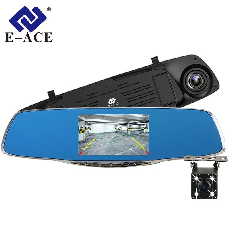E-ACE coche Dvr espejo con cámara de Vista trasera 4,3 pulgadas grabadora de Video 2 cámaras HD Auto Cámara lente doble digital registrador