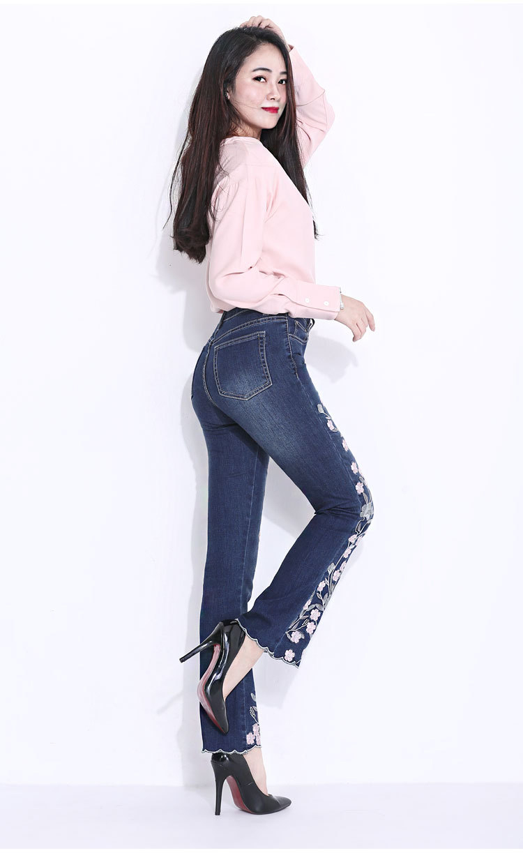 KSTUN FERZIGE Embroidered Jeans for Women 2018 Autumn Bell Bottom Flared Denim Pants Blue England Style Femme Sexy Ladies Trousers 36 15