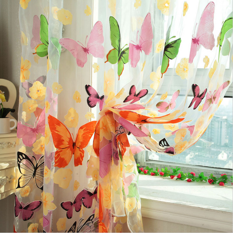 Curtain For Balcony: Rustic Print Sheer Curtain Panel Window Balcony Tulle