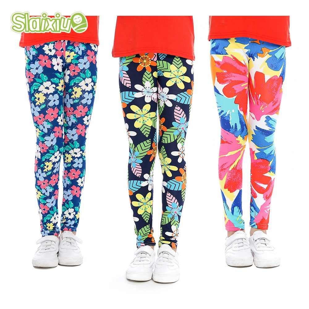 7095ee814f85bc SLAIXIU Soft Girls Leggings Baby Girl Clothes Pencil Pants Cotton Kids  Trousers Print Flower Skinny Children