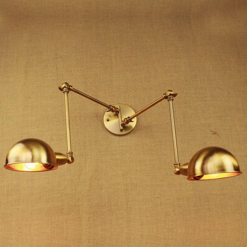 adjustable vintage wall lamps brass gold double head swing arm bedroom Edison Wall lamp E27 led Iron Wall Light Fixtures leshp adjustable double arm 27 inch monitor holder double arm tablet pc stands 360 degree rotatable computer desk free shipping