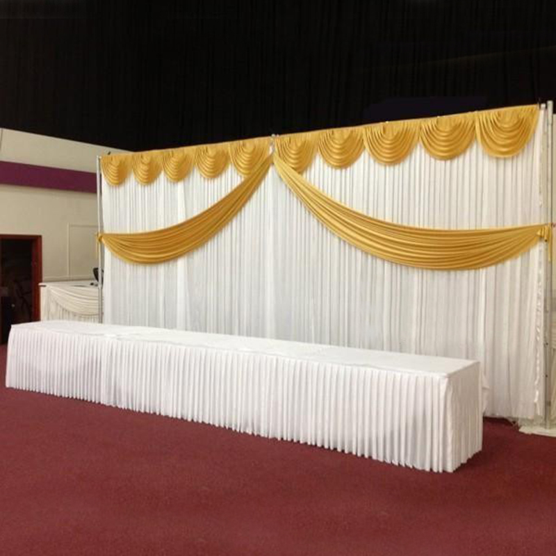 Customized Satin Wedding Backdrop Curtains Gold Swag Satin party background drape curtain wedding decoration 10ftX20ft 3X6m