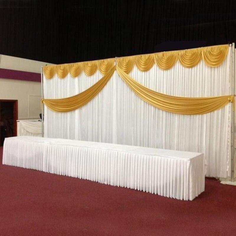 Dostosowane ślubne satynowe tło zasłony złoty Swag satynowa strona tło zasłona kurtyna ślubna dekoracja 10ftX20ft (3X6 m) w Tła imprezowe od Dom i ogród na  Grupa 1