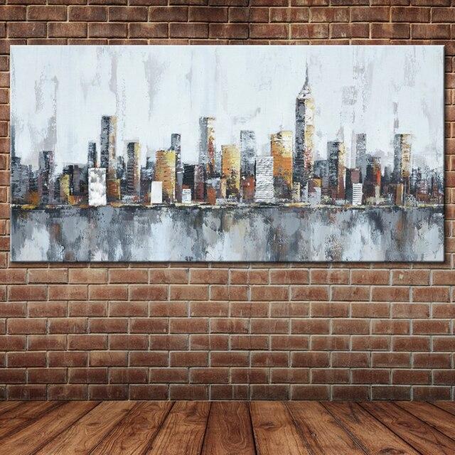 Moderno Abstact Nueva York Deco Pintura Al Óleo Hecho A Mano Grandes ...