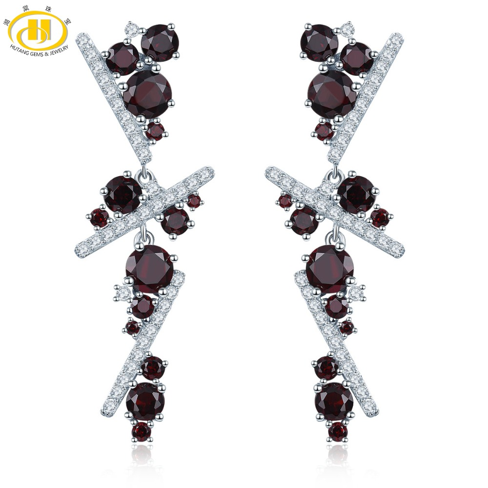 c7e06464e Hutang 6ct Red Garnet Stud Earrings Natural Gemstone 925 Sterling Silver  Fine Fashion Multisection Jewelry for Women's Gift New