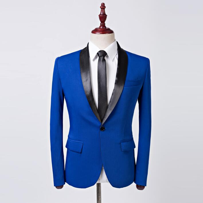 Singer star style stage slim clothing for men blue suit set with pants mens wedding suits costume groom formal dress korean