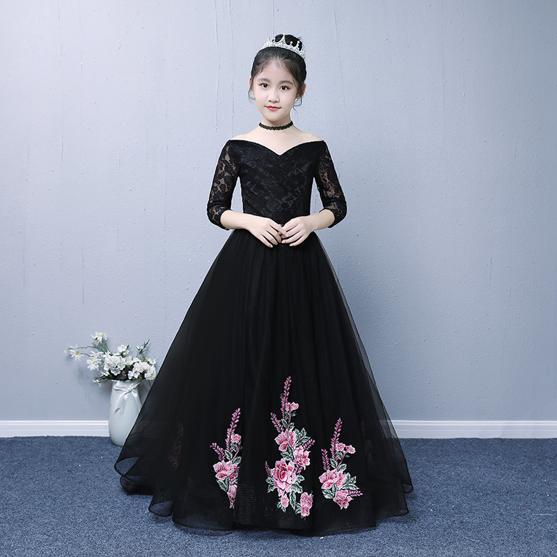 Luxe noir dentelle fleur fille robes broderie enfants robe formelle à lacets sans épaule v-cou petite traînée robes de soirée G303
