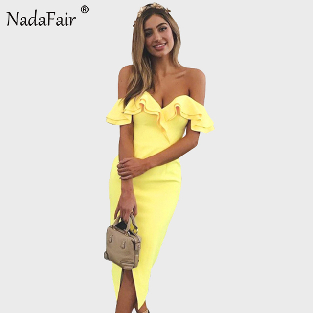 61892ce2fb Nadafair Off Shoulder Ruffles Split Wrap Sexy Club Bodycon Dress 2018 Women  Elegant Midi Party Dress Yellow Black White