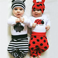 Newborn Baby Girls Long Sleeve Cartoon Rompers+Dots Pants+Ladybird Caps 3-piece Clothing Set  Infant Toddler Clothes 6-24M