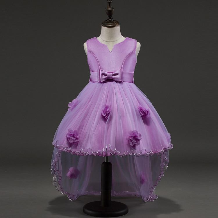 Girl  Wedding Summer Party Purple Dresses For Girls Birthday Princess Clothes Children Toddler Elegant  Golden Formal Dress Baby