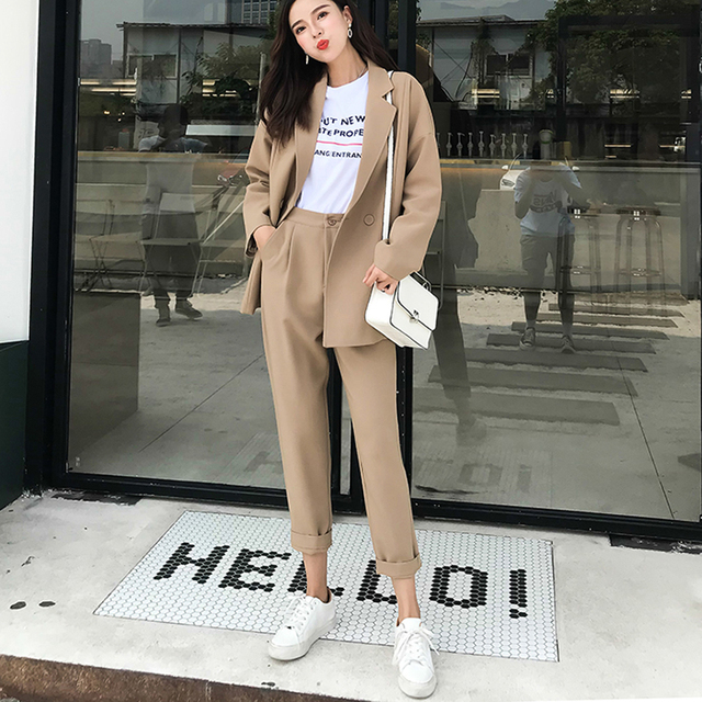 BGTEEVER  Casual Solid Women Pant Suits Notched Collar Blazer Jacket & Pencil Pant Khaki Female Suit Autumn 2019 high quality 2
