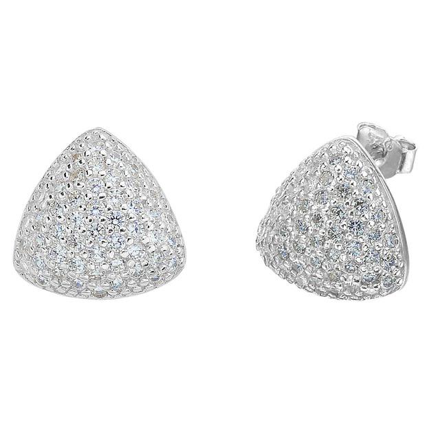 BELLA Real Pure 925 Sterling Silver Triângulo Brincos De Noiva Zircão Cúbico Do Parafuso Prisioneiro Brincos Acessório Do Casamento Jóias Presente Do Partido