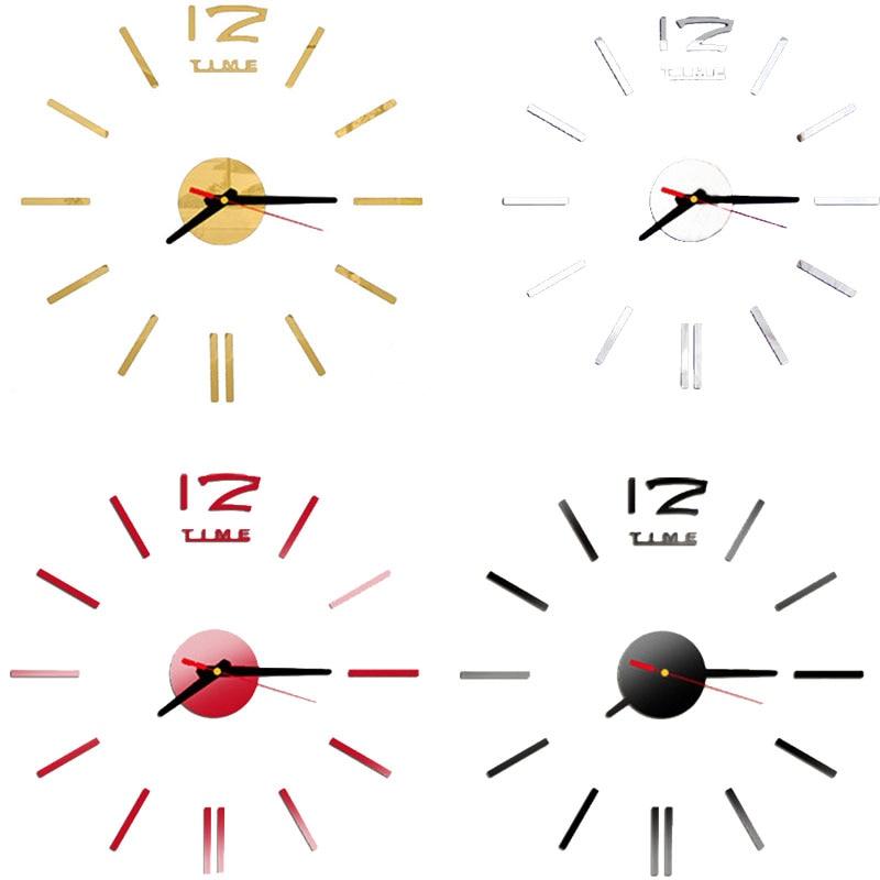 2016 New Fashion Wall Clock Acrylic Plastic Mirror Wall Home Decal Decor Vi..