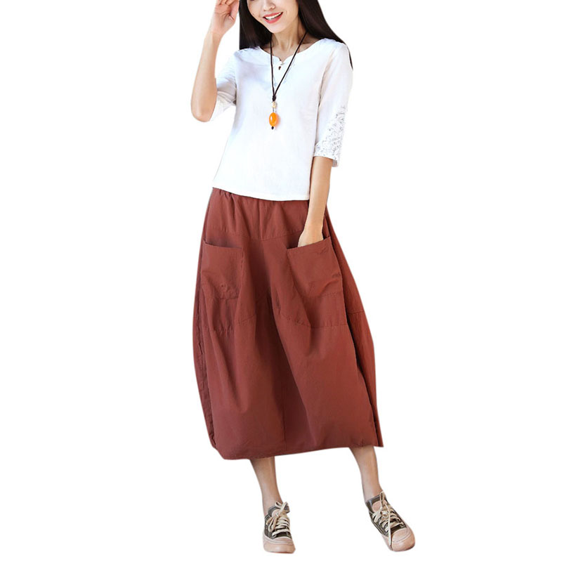 5dbeaeae430 Anself Vintage Women Mid calf Skirt Cotton Elastic Waist Plus Size Maxi  Long Skirt Casual Loose Baggy Skirts Orange Green Black-in Skirts from  Women s ...
