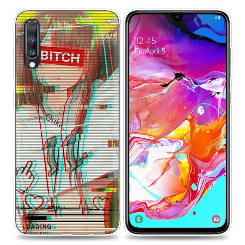 Transpatrent Ốp Lưng Silicon dành cho Samsung Galaxy Samsung Galaxy A50 A70 A30 M30 M20 A10 A20 A40 M20 Bao Điện Thoại Vaporwave Không Gian Anime