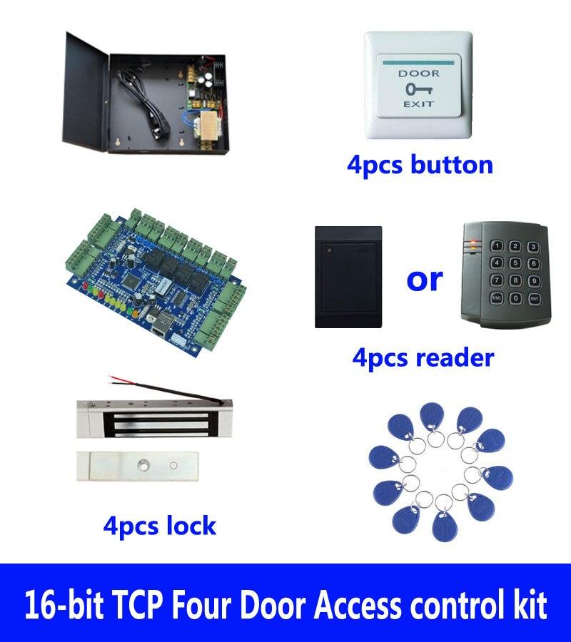 RFID kit de contrôle d'accès, TCP/IP quatre portes de contrôle d'accès + powercase + 180 kg serrure magnétique + ID lecteur + bouton + 10 ID tag, sn: kit-B403