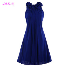 Navy Blue Chiffon Short Bridesmaid Dresses Pleat Knee Length Vestidos Formatura O-Neck Mini Wedding Party Dress Formal Gowns