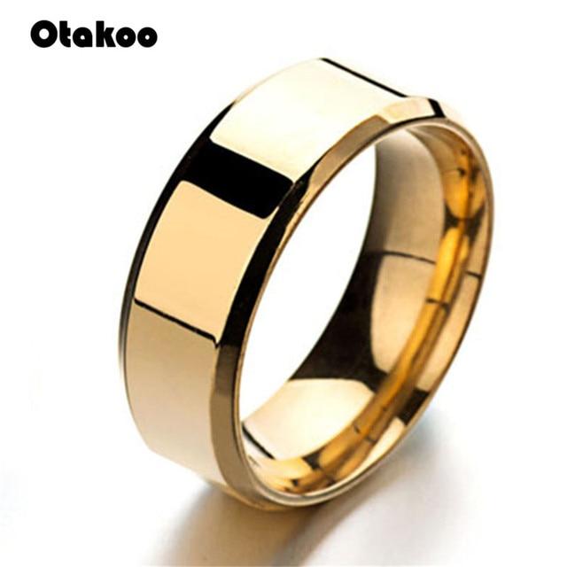 Mens Anéis de Otakoo 8 MM Wedding Band Anel de Noivado de Prata Preto de Aço Inoxidável para Homens Jóias de Alta Polido