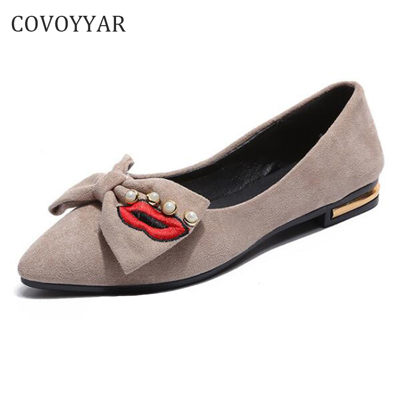COVOYYAR 2018 Pearl Bow Women Flats Spring Autumn Lip Shape Pointed Toe Women Shoes Slip on Ladies Loafers WFS364 beyarne hot sale new fashion spring women flats shoes ladies bow pointed toe slip on flat women s shoes free shipping size34 40