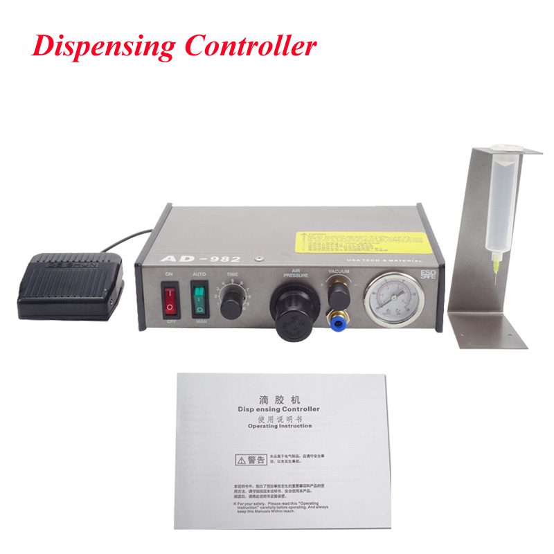 Semi Automatic Glue Dispenser AD-982 High-Precision PCB Solder Paste Liquid Controller Dropper Fluid Dispenser 1pcs ds 982 ds982 semi auto glue dispenser pcb solder paste liquid controller dropper fluid dispenser 110v 220v