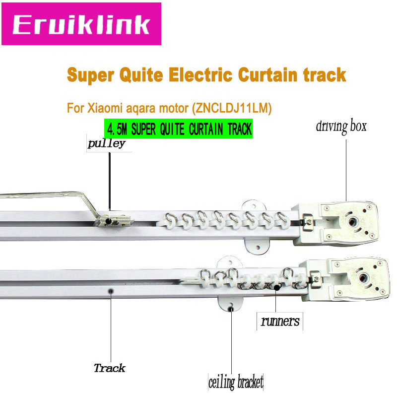4.5m Quality Automatic Electric Curtain Track For Xiaomi Aqara/Dooya Kt82/Dt82 Motorr,Super Quite Curtain Track For Smart Home