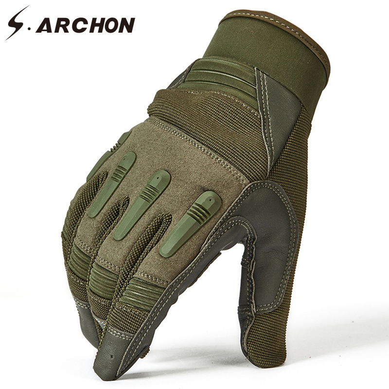 S.ARCHON US Soldiers Tactical Full Finger PU Gloves Men Anti-Skid Warm Military Mittens Male Paintball Fight Shoot Combat Gloves