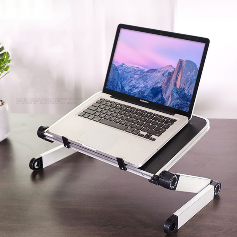 Folding Portable Laptop Stand Adjustable Lift Desktop Stand For Laptop iPad 360 Degree Rotate Ergonomic Laptop Desk Bed Table(China)