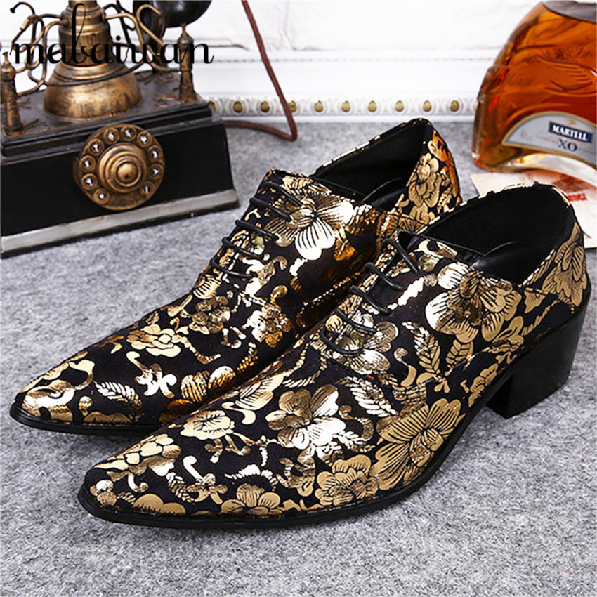 Gold Flower Print Genuine Leather Men Flat Shoes Pointed Toe Men Oxfords Business Wedding Dress Shoes