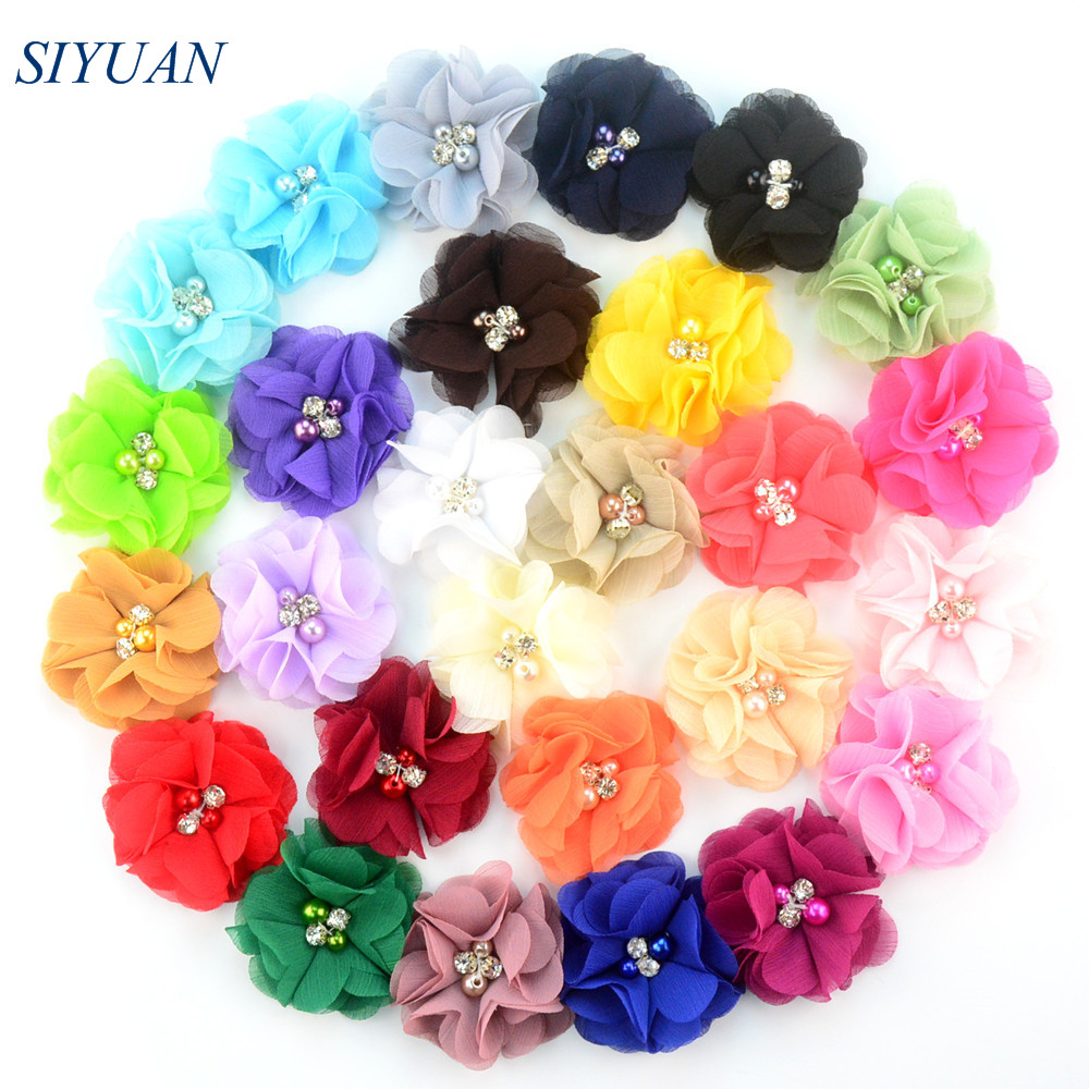 120pcs/lot 27 Color U Pick 2 Inch Mini Layered Chiffon Fabric Flowers With Pearl Rhinestone DIY Bow Making Supplies MH22 120 luna pearl