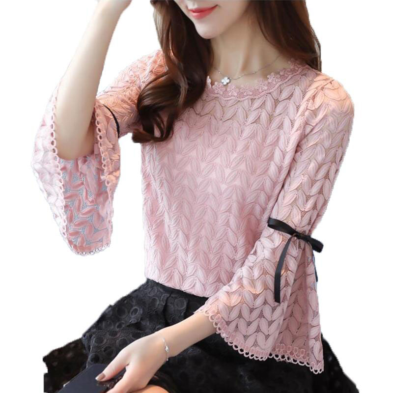 2018 Spring Fashion Solid Lace   Shirts   Women   Blouses   Long Sleeve O-neck Hollow Out Bow Flare Sleeve   Shirt   Women Tops Lace   Blouse