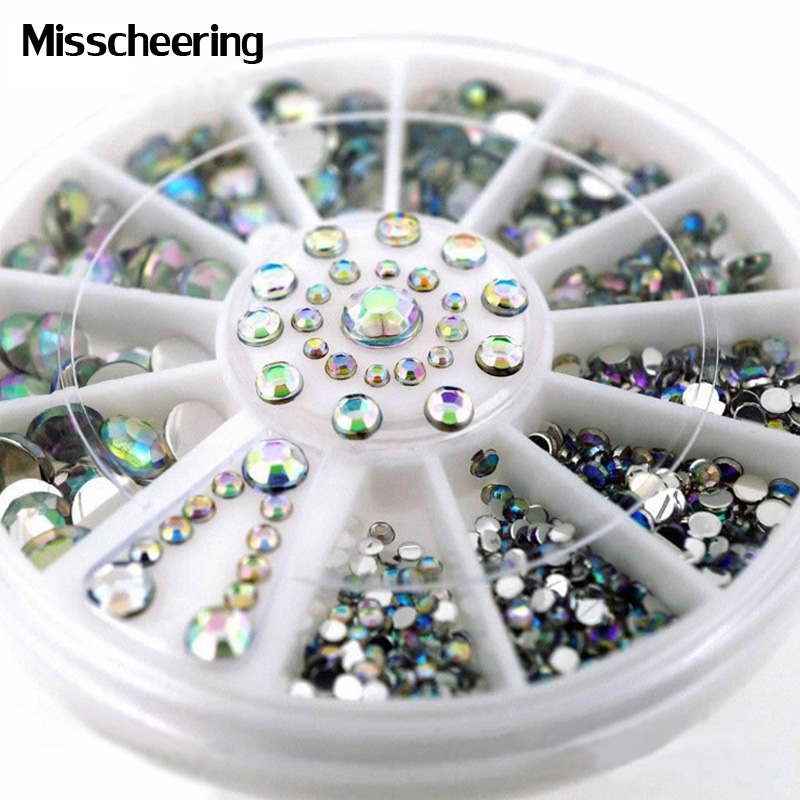 1wheel Mix Sizes Flatback Design font b Nail b font Art Decoration Glitter Strass 3d AB