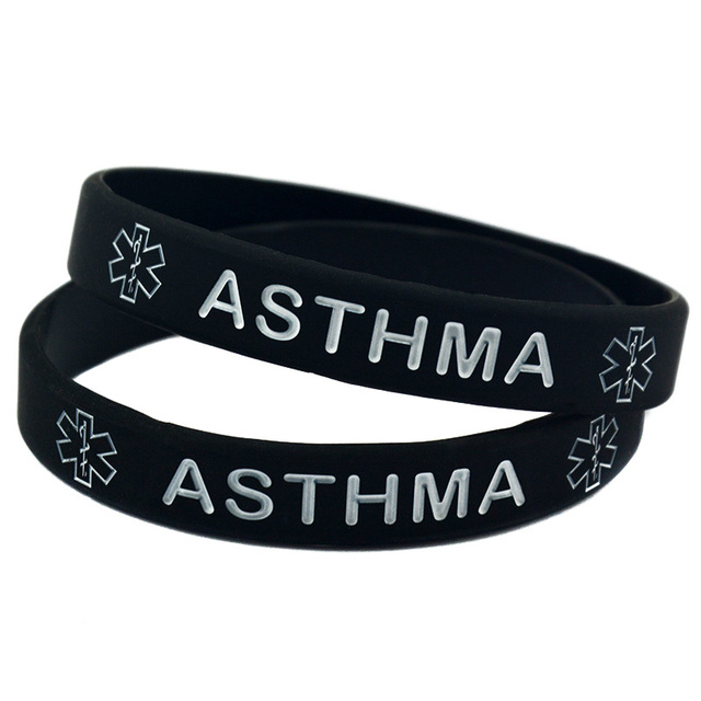Onebandahouse 1pc Medical Bracelet Asthma Silicone Wristband Great To Used In Alert Reminder Labels