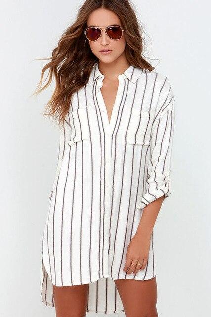 3edde1d770ca Women Loose Stripe Shirt Dress 2015 Spring Summer Casual Slim Long Sleeve  Button Up Collar Asymmetrical Split Print Tshirt Dress