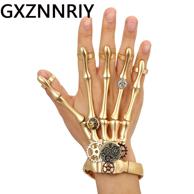 Fashion Gold Punk Bracelets Bangles For Women Halloween Accessories Skull Skeleton Hand Ring Elastic Steampunk Men Jewelry Gift