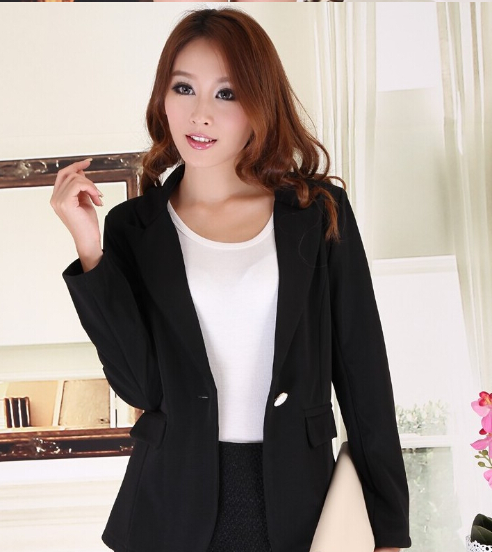 J43431 Full Sleeve Short Design Solid Color Single Button Notched Casual Blazer Chiffon Blazers And Jackets