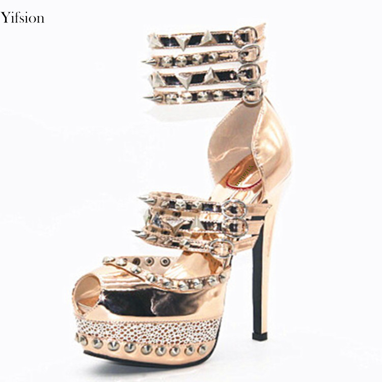 Olomm 2018 New Women Platform Sandals Sexy Rivets Thin High Heels Sandals Peep Toe Gold Party