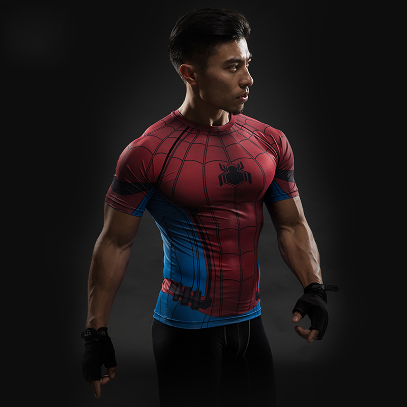 Spiderman 3D Printed T Shirt Mens Compression Raglan Sleeve Captain America Civil War Avengers Cosplay Fitness Slim Fit Tees
