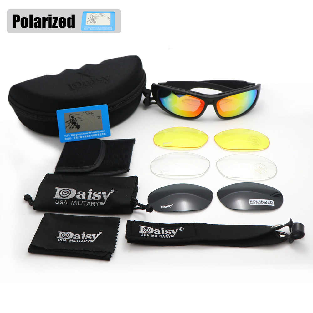 a3e803b22d9c Daisy C6 Glasses Military Goggles Bullet-proof Army Polarized Sunglasses  With 4 Lens Men Shooting
