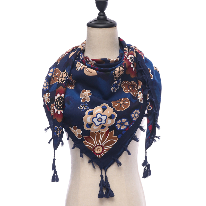 hot 2019 spring women   scarf   cotton   scarves   lady   wraps   winter pashmina print floral vintage female   scarf   bandana