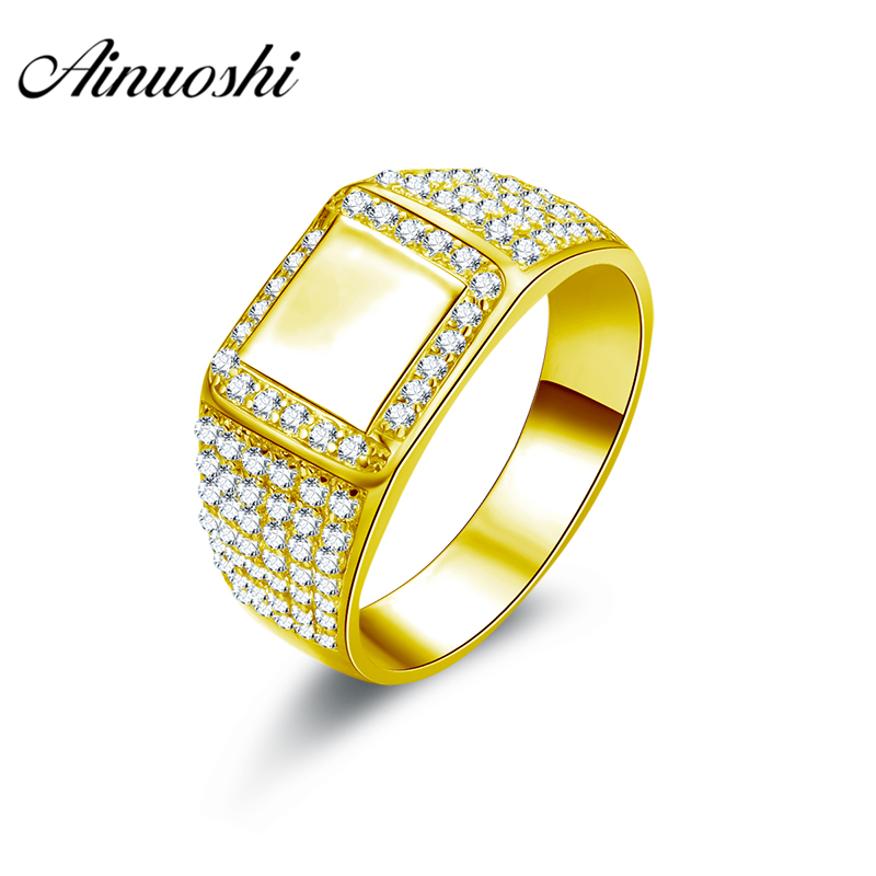 AINUOSHI Exquisite Smooth Gold Men Ring 10K Solid Yellow Gold Rectangle Halo Ring Engagement Wedding Jewelry 6.3g Wedding BandAINUOSHI Exquisite Smooth Gold Men Ring 10K Solid Yellow Gold Rectangle Halo Ring Engagement Wedding Jewelry 6.3g Wedding Band