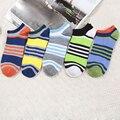 3 par colorido listrado tornozelo meias homens chaussette homme lote happy socks calcetines meias invisíveis para os homens compressão