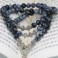 Natural de piedra de la nueva manera 6mm obsidiana copo de nieve redondo perlas pulseras de múltiples capas diseño original regalos de la joyería B2243